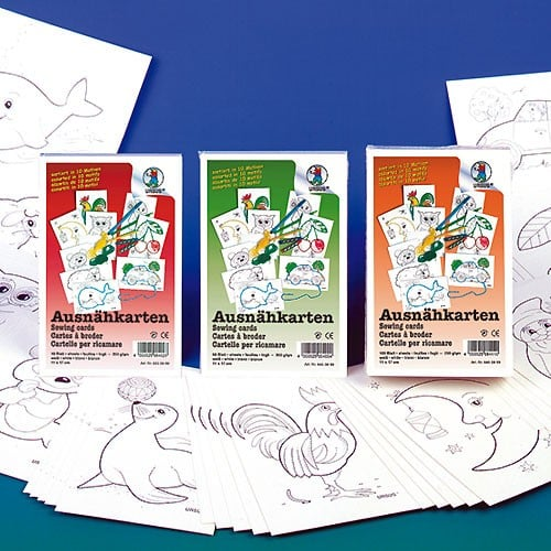 URSUS Ausnähkarten weiß 11x17cm, 50 Blatt, 10 Motive | Bejol Bastelshop