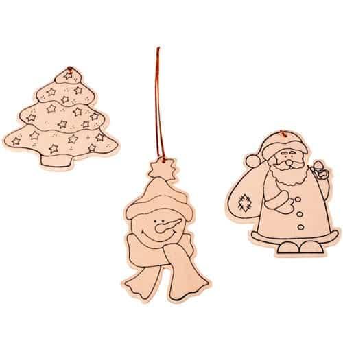 Baumschmuck Holz blanko, Weihnachtsbaumanhänger zum Bemalen, 3 Stück | Bejol Bastelshop