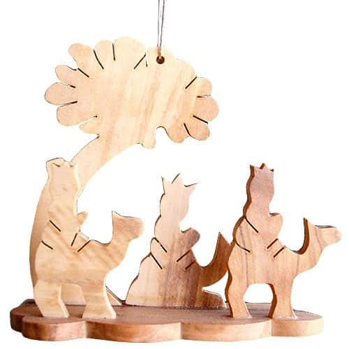 Christbaumschmuck Holz Olivenholz Anhänger Hl 3 Könige Bethlehem 7cm