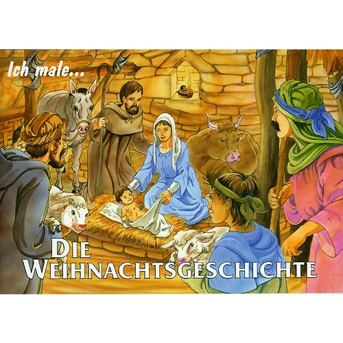Die Weihnachtsgeschichte, Bernhard Burg - christliches Ausmalbuch & Vorlesebuch - 28 Seiten, A5 Querformat | Bejol Bastelshop