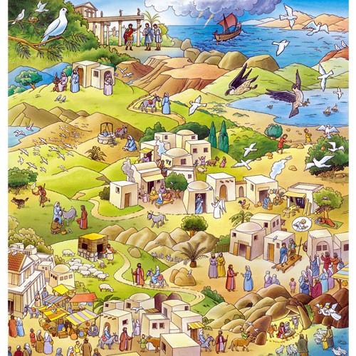Großer Adventskalender zum Vorlesen und Basteln 88x92cm - Die Botschaft der Taube - Vorleseadventskalender mit Begleitbuch | Bejol Bastelshop