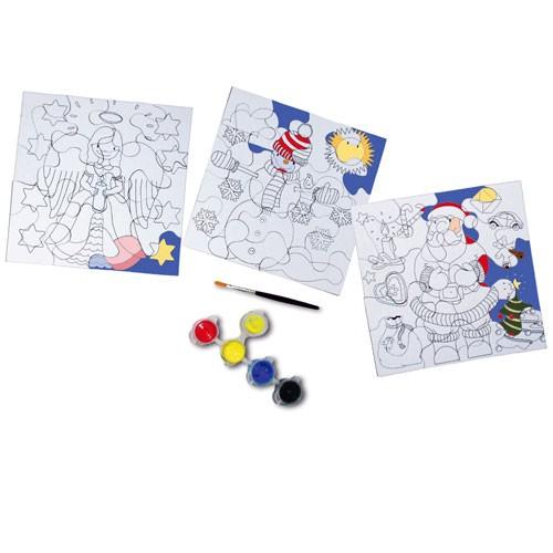 Eduplay 210063 - Ausmalpuzzle Weihnachten 3 Puzzle inkl. 4 Farben und 1 Pinsel | Bejol Bastelshop