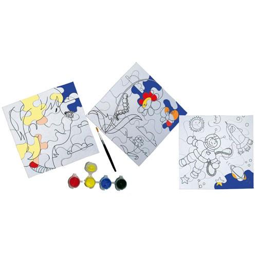 Eduplay 210064 - Ausmalpuzzle 3 Puzzle inkl. 4 Farben und 1 Pinsel | Bejol Bastelshop