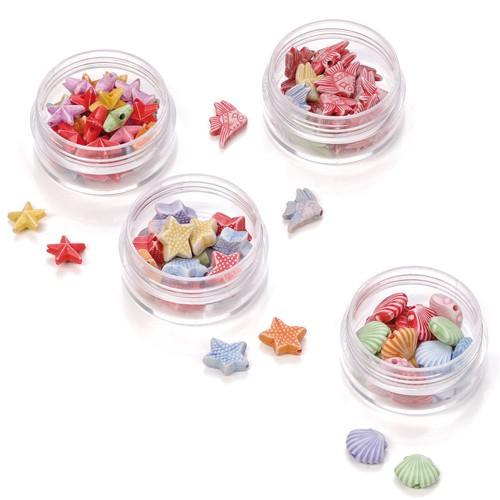 Kunststoff-Perlen Maritim zum Auffädeln, 4 Dosen - Fädeln, Basteln mit Kindern   Bejol Bastelshop