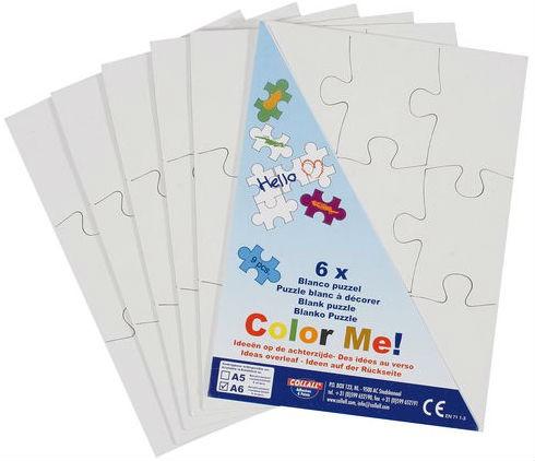 Blanko Puzzle A6 weiß zum selbst bemalen - 6 Stück, je 9 große Teile | Bejol Bastelshop