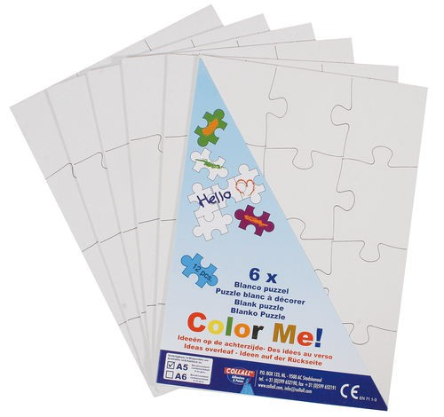 Blanko Puzzle A5 weiß zum selbst bemalen - 6 Stück à 12 große Teile | Bejol Bastelshop