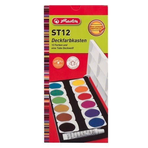Herlitz 10116655 Deckfarbkasten ST12 mit 12 Farben | Bejol Bastelshop