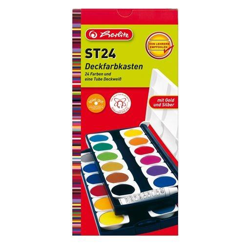 Herlitz 10199933 Deckfarbkasten ST24 mit 24 Farben   Bejol Bastelshop