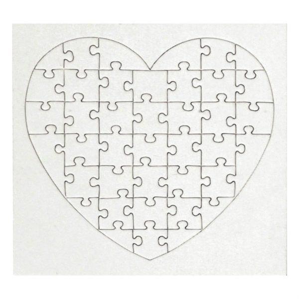 Blanko Puzzle Herz weiß - aus Karton 40 Teile, 16x16cm, 10 Stück   Bejol Bastelshop