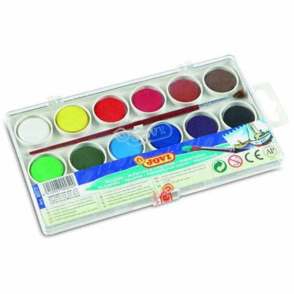 JOVI Tuschkasten - Deckfarbkasten für Kinder - Wasserfarbkasten 12 Farben 22mm | Bejol Bastelshop