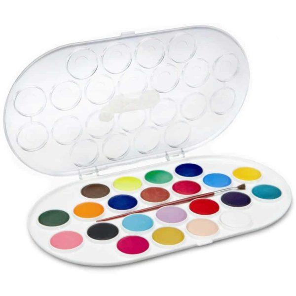 JOVI Tuschkasten - Deckfarbkasten für Kinder - Wasserfarbkasten 22 Farben 30mm | Bejol Bastelshop