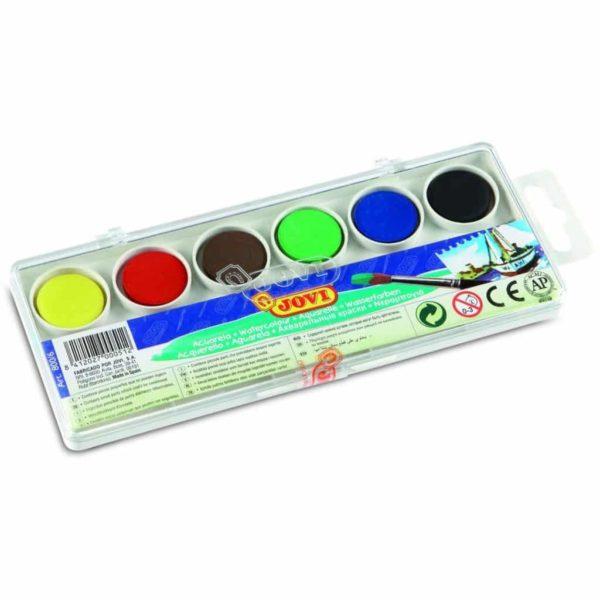 JOVI Tuschkasten - Deckfarbkasten für Kinder - Wasserfarbkasten 6 Farben 22mm | Bejol Bastelshop