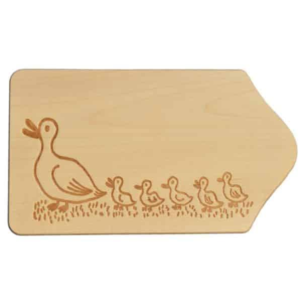Frühstücksbrettchen Holz mit Gravur - Motiv Enten - zum Selbstgestalten & Bemalen | Bejol Bastelshop