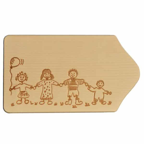 Frühstücksbrettchen Holz mit Gravur - Motiv Familie - zum Selbstgestalten & Bemalen | Bejol Bastelshop