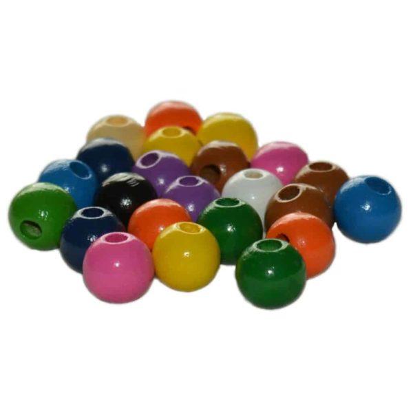 Holzperlen 12mm bunt 50 Stück zum Auffädeln für Kinder - Ketten basteln | Bejol Bastelshop