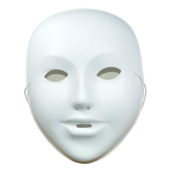 Kindermaske zum Bemalen Kunststoff weiß für Fasnacht, Karneval, H 18cm   Bejol Bastelshop