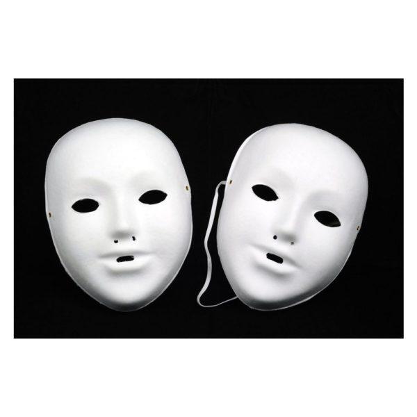 10 Kindermasken aus Pappe inkl. Gummi, blanko weiß zum selber Bemalen & Basteln | Bejol Bastelshop