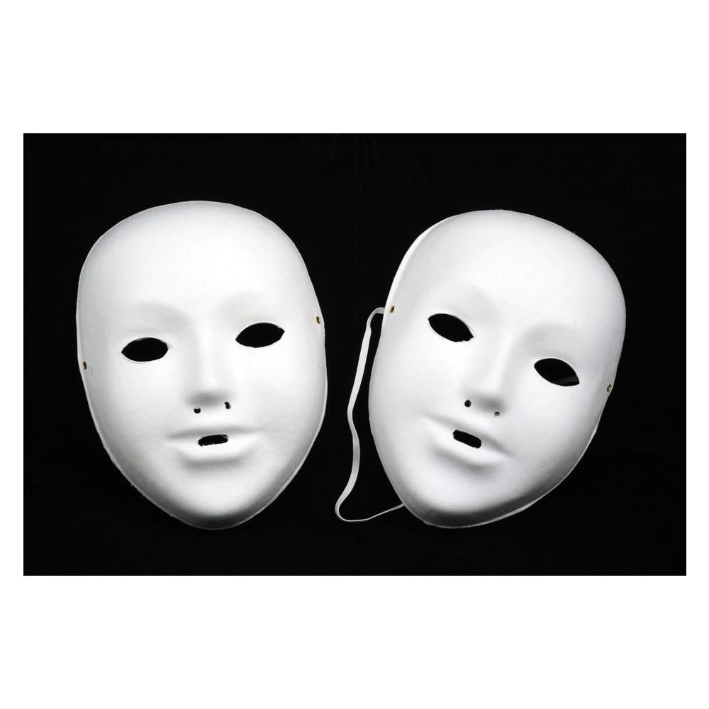 10 Kindermasken aus Pappe inkl. Gummi, blanko weiß zum selber Bemalen & Basteln   Bejol Bastelshop