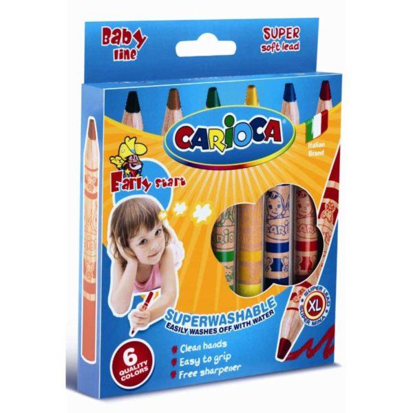 Buntstifte für Kleinkinder, 6 Farbstifte - Wachsmalstifte Baby, holzgefasst | Bejol Bastelshop