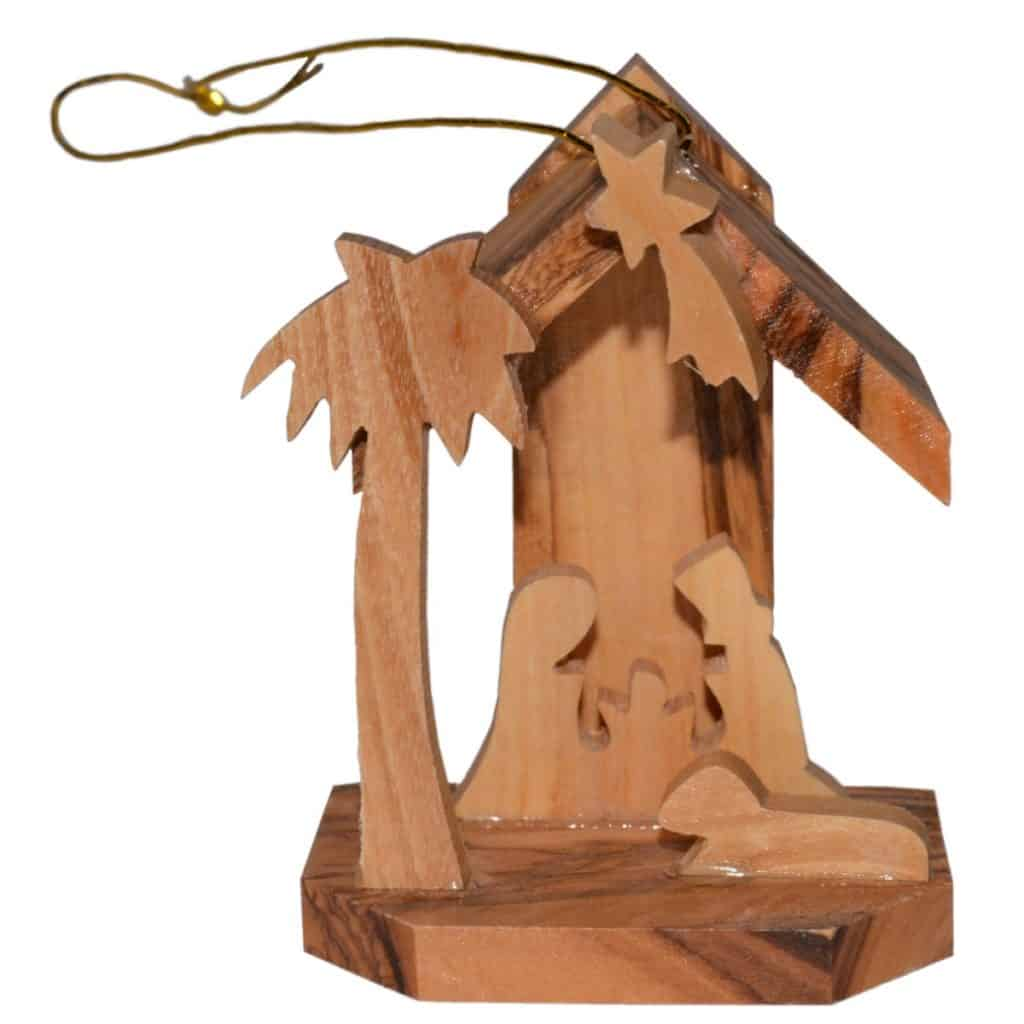 Holz Anhanger Minikrippe Olivenholz Christbaumschmuck Bethlehem 6cm
