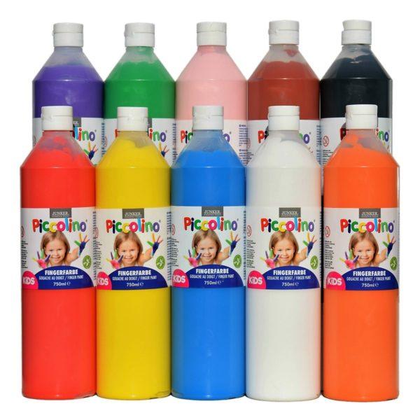 Piccolino Fingerfarben Set 10x750ml - ideal für Kindergarten Kita Therapie ~ Bejol Bastelshop