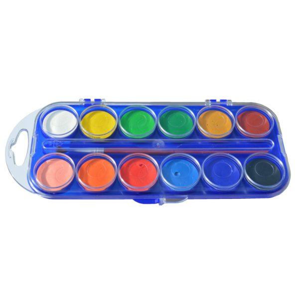 Tuschkasten - Deckfarbkasten Kindermalkasten mit 12 Wasserfarben 30mm   Bejol Bastelshop