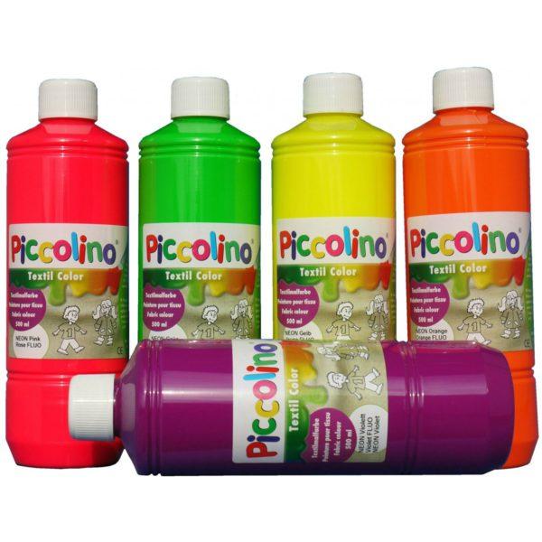 PICCOLINO Stoffmalfarben Neon - Textilfarben Set 5 Neon-Farben je 500ml | Bejol Bastelshop