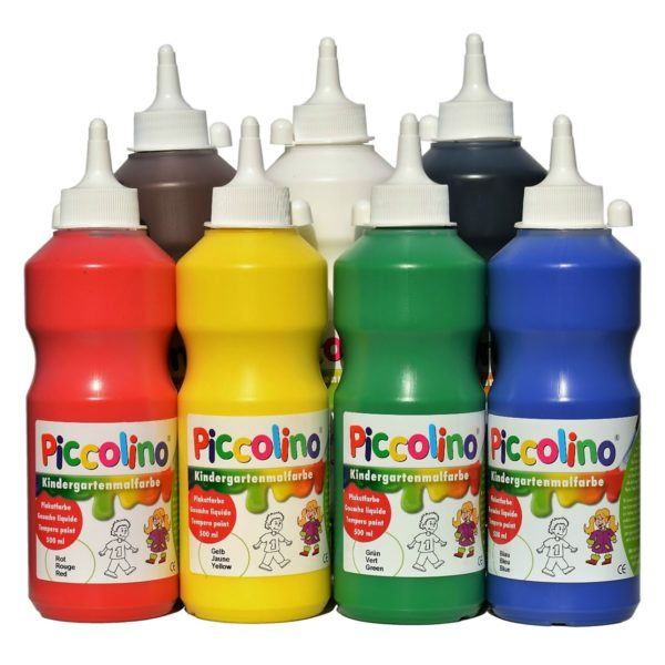 Piccolino Kindermalfarben Set 7x500ml - Kindergarten Malfarben - Schulmalfarben Set | Bejol Bastelshop