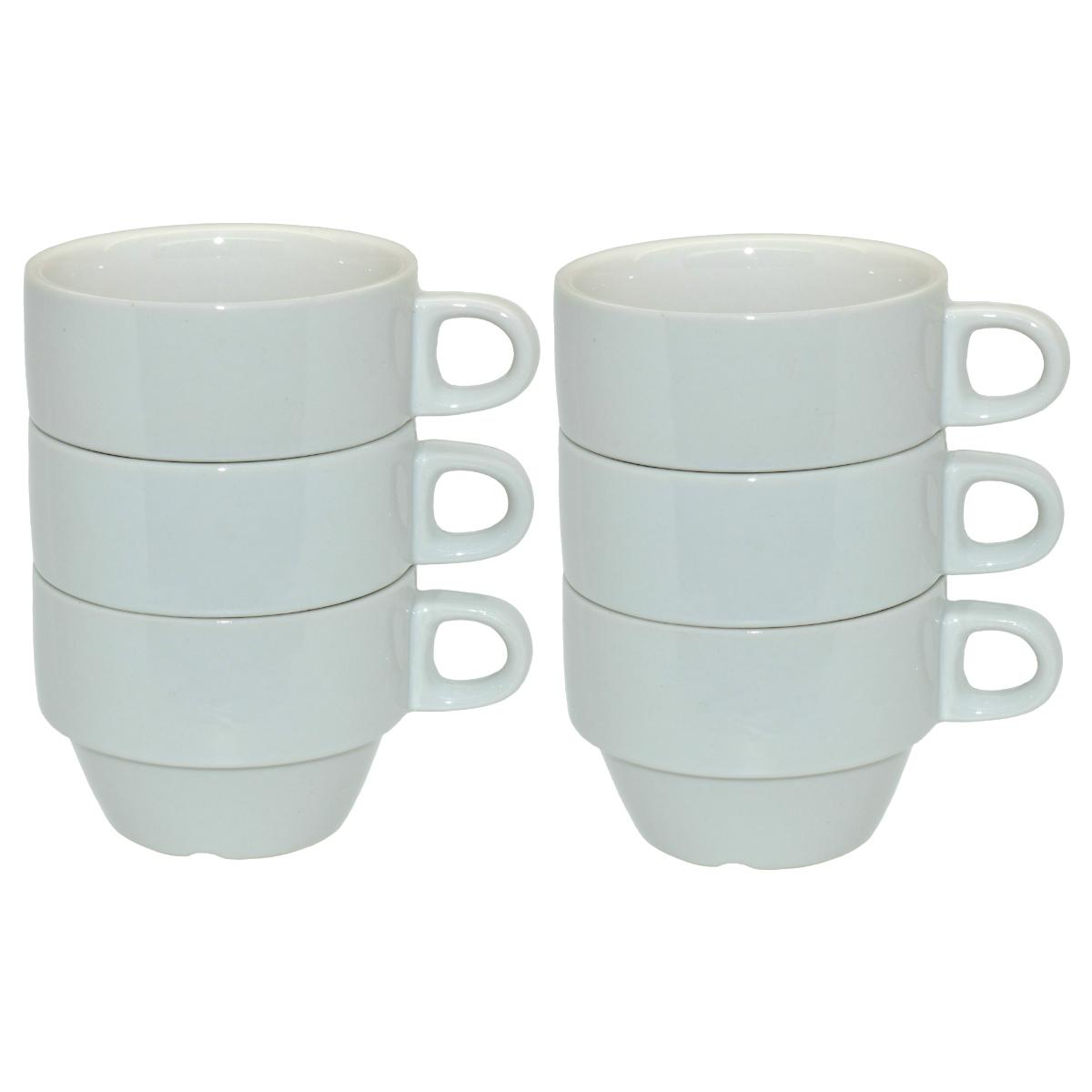 6er Pack Porzellan Tassen Weiss Zum Bemalen 210ml H 8 5 X O 6cm
