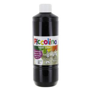 Piccolino Textilfarbe schwarz in 500 ml Flasche. Stoffmalfarbe auf Wasserbasis. Ergiebige Textilmalfarbe zum Malen und Pinseln in leuchtenden Farben